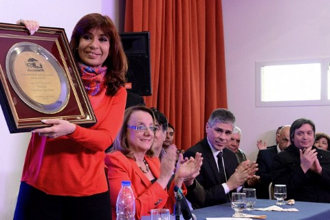 La presidenta Cristina Fern�ndez de Kirchner junto a Alicia Kirchner, candidata a gobernadora santacruce�a.