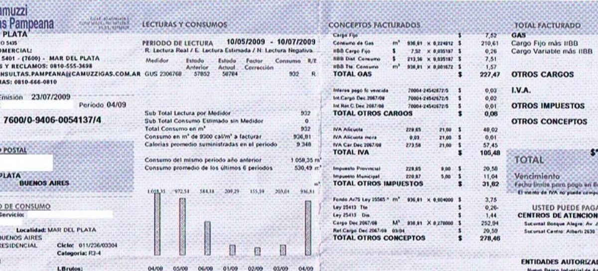 Según Camuzzi Gas Pampeana, el 64,1 por ciento de usuarios pagó facturas inferiores a $ 500 por mes