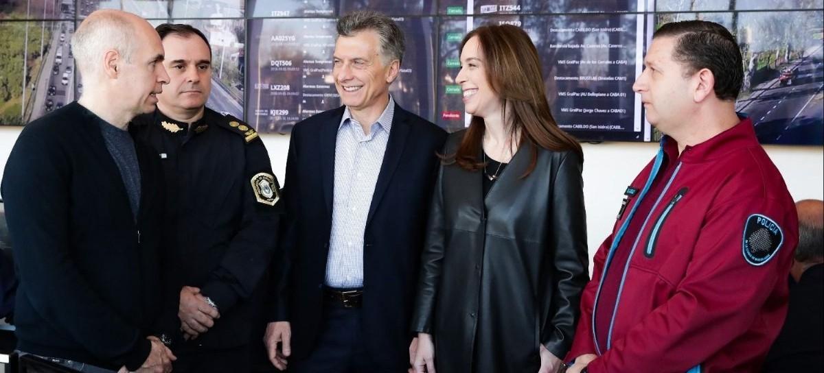 Macri, Vidal y Larreta se mostraron juntos en la recorrida por un centro de monitoreo de seguridad