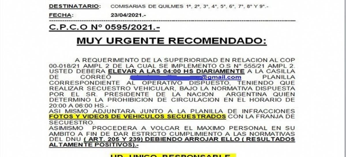 En Quilmes, la Policía se puso inflexible con la restricción horaria: ordenan secuestrar vehículos
