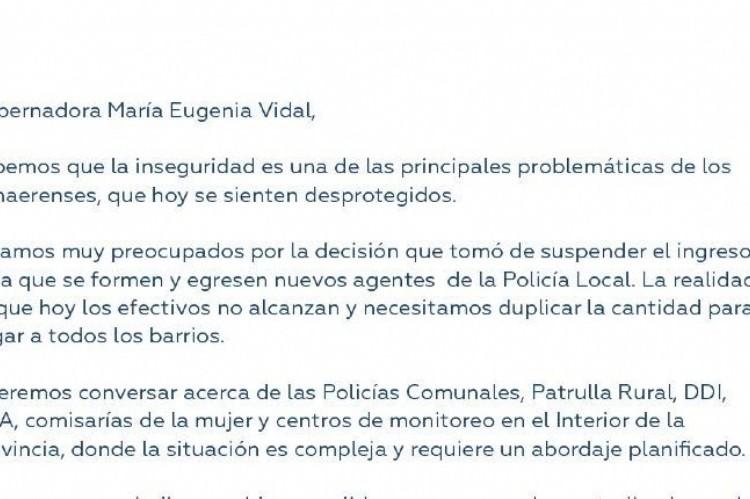 Los Grupos ESMERALDA y FÉNIX se unen por las Policías Locales con PEDIDO URGENTE de reunión a Vidal . Parte de la carta enviada a Vidal