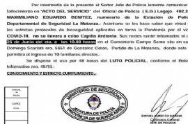 Luto Policial por 48 horas: murió por Coronavirus un oficial de La Matanza, el primero de la fuerza