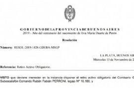 El ministro Cristian Ritondo dispuso el retiro del jefe de la Policía bonaerense, Fabián Perroni