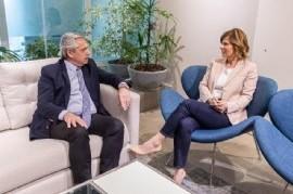 Alberto Fernández recibió a su candidata en La Plata, Florencia Saintout